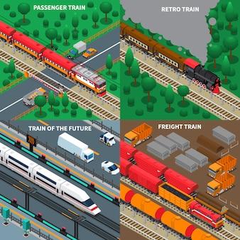Trains isométrique