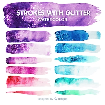 Trait d'aquarelle avec collection de paillettes