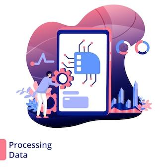 Traitement des données illustration style moderne