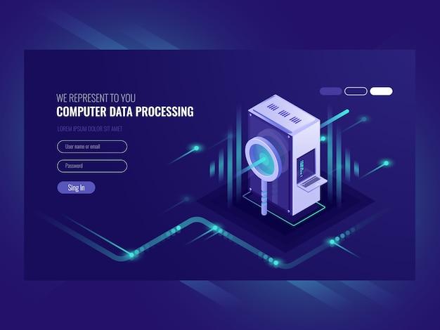Traitement des données informatiques, optimisation des moteurs de recherche, salle des serveurs