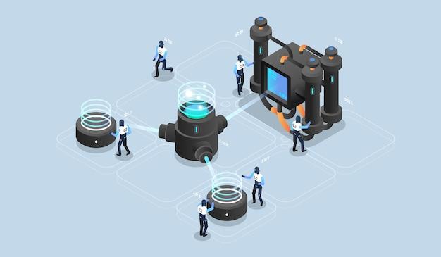 Traitement de données volumineuses, entrepôt de centre de données, science des données, salle des serveurs. visualisation technique. illustration isométrique moderne.