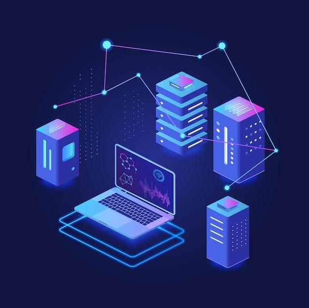 Traitement de données volumineuses, hébergement et serveur, plate-forme virtuelle de base de données concept isométrique néon sombre