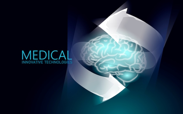 Traitement du cerveau rendu 3d low poly.