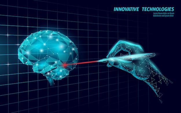 Traitement du cerveau rendu 3d low poly