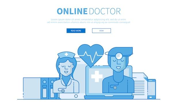 Traitement en ligne et bannière de contour de docteur en ligne