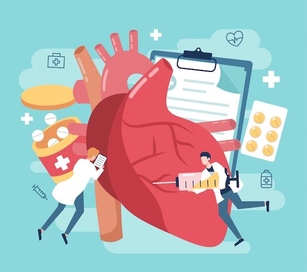 Traitement des maladies cardiaques avec des médicaments et des personnes illustration