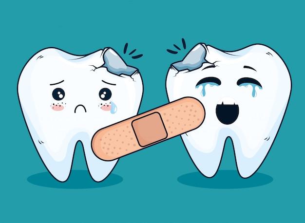 Traitement médicamenteux des dents avec bandeau d'aide