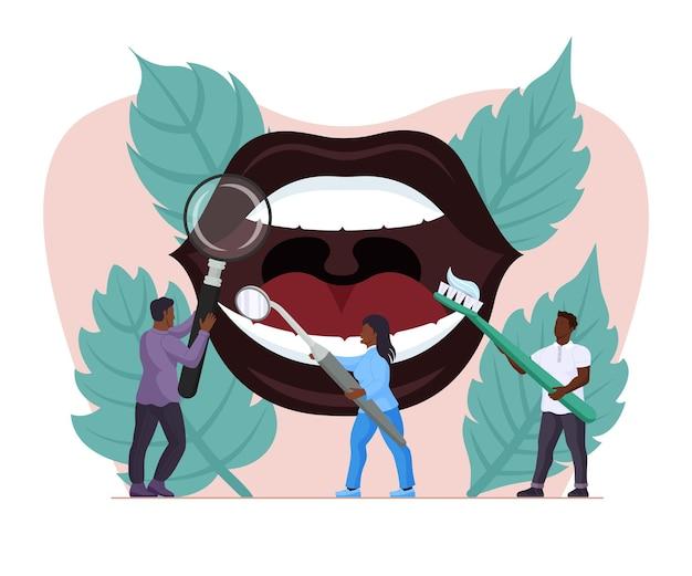 Traitement et nettoyage des dents dans l'affiche de la clinique orthodontique. petite équipe de médecins dentistes fournissant un examen dentaire, une cure et une hygiène de blanchiment des dents dans l'illustration vectorielle de la bouche ouverte du patient
