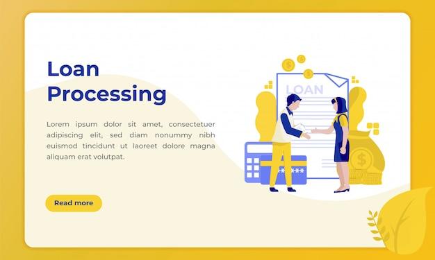 Traitement des prêts, illustration de la page de destination sur le thème du secteur bancaire