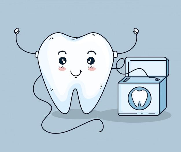 Traitement de soin des dents avec du fil dentaire