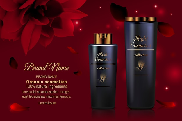 Traitement de soin de visage de corps de produit de crème de bouteille de série cosmétique avec des fleurs rouges