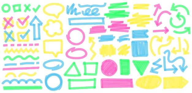 Traits de marqueur de surbrillance de couleur