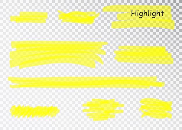Traits de marqueur de surligneur jaune. brossez les lignes de soulignement du stylo. ensemble de faits saillants dessinés à la main aquarelle jaune.