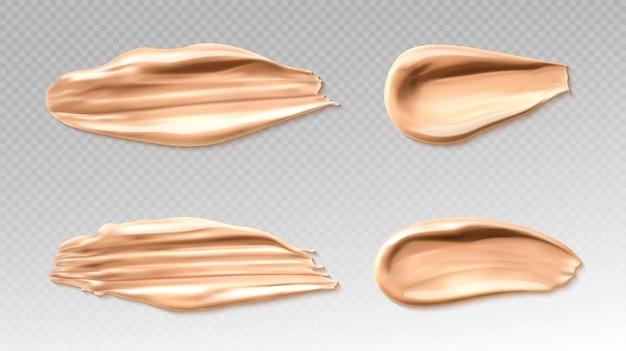 Traits de pinceau correcteur ou fond de teint pour la peau
