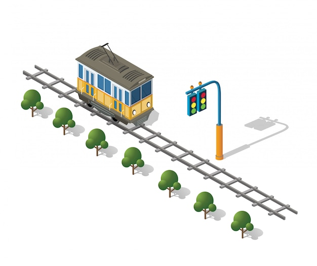 Tram isométrique métro urbain
