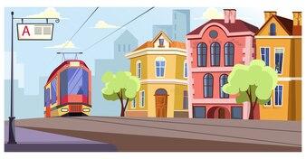 Tramway moderne sur rails dans l'illustration de la ville