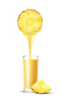 Tranche d'ananas de vecteur avec flux de jus et verre isolé sur fond blanc