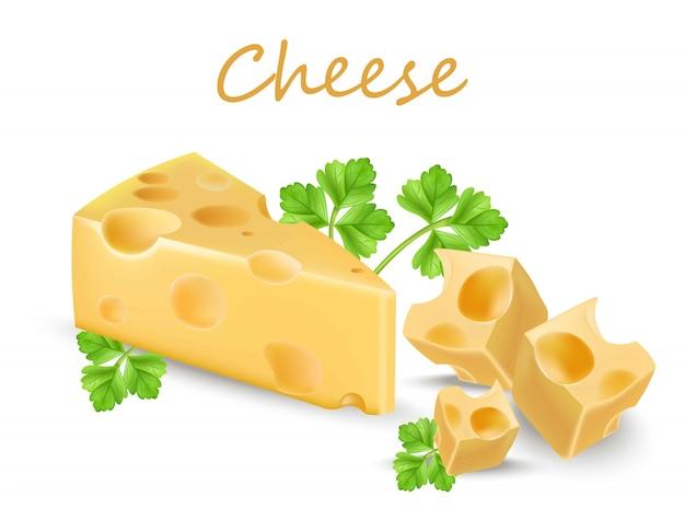 Tranche de fromage holland isolé sur blanc