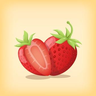 Tranche de fruits frais à la fraise et entière avec une couleur réaliste