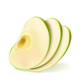 Tranche de fruits vecteur réaliste pomme verte 3d