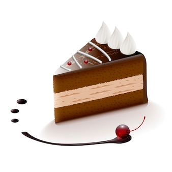 Tranche de gâteau au chocolat