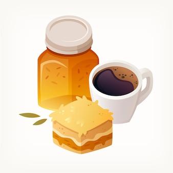 Tranche de gâteau aux pommes en couches un pot de confiture et tasse de café noir