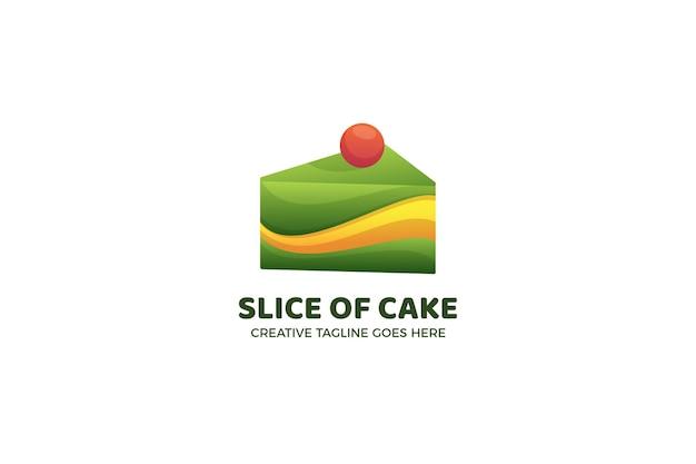 Tranche de modèle de logo de boulangerie de gâteau