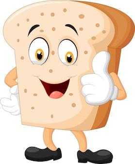 Tranche de pain de dessin animé donnant les pouces vers le haut