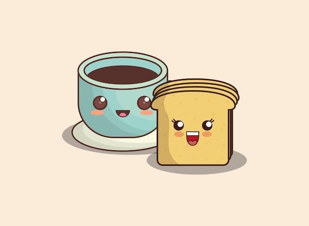Tranche de pain kawaii et tasse de café