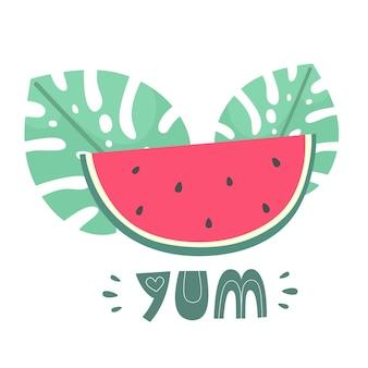 Tranche de pastèque avec des feuilles tropicales et le mot miam dans un vecteur dessiné à la main de style doodle plat