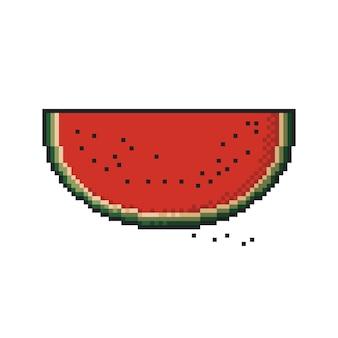 Tranche de pixel art pastèque sur fond blanc