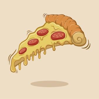 Tranche de pizza au pepperoni et fromage de dessin animé