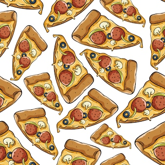 Tranche de pizza délicieuse en jacquard sans soudure
