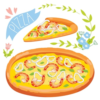 Tranche de pizza isolé sur fond blanc