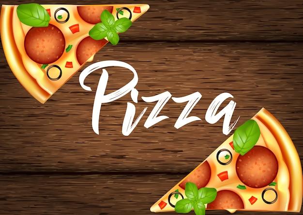 Tranche réaliste de pizza sur un fond en bois de planches. illustration vectorielle 3d.
