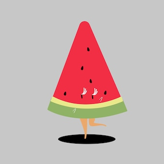Tranche de vecteur de dessin animé de melon d'eau