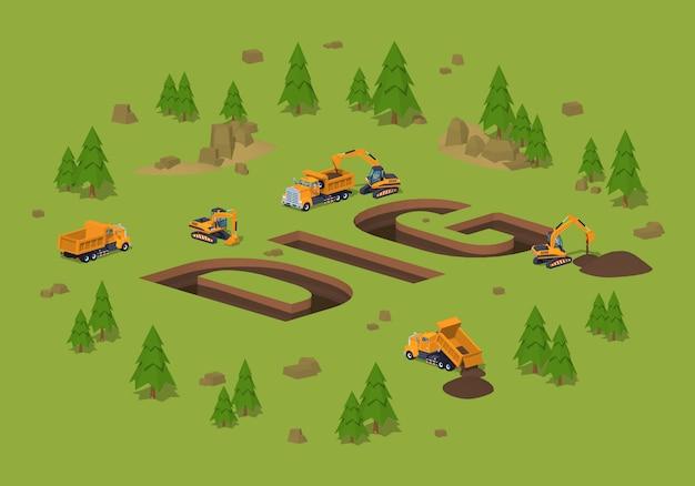 Tranchées isométriques 3d lowpoly sous la forme du mot dig