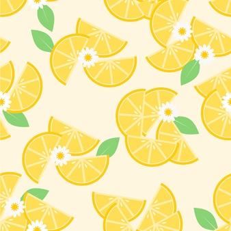 Tranches de citron et de fleurs blanches transparente motif
