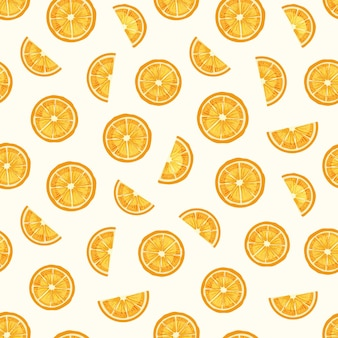 Tranches de citron modèle sans couture dessiné à la main. texture de délicieux morceaux d'orange
