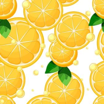 Tranches de citron et moitiés avec motif sans soudure de feuilles et de bulles
