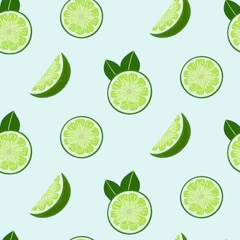 Tranches de citron vert et feuilles modèle sans couture.