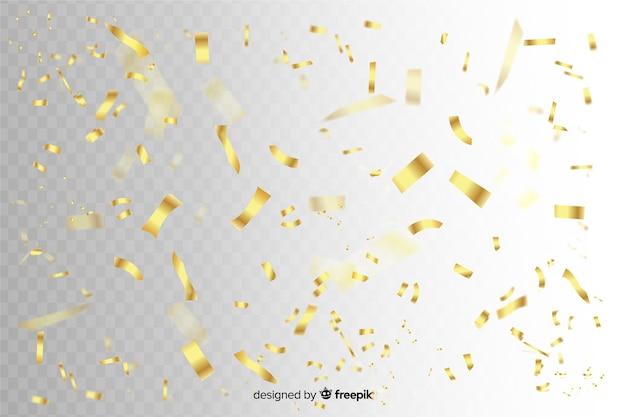 Tranches de confettis d'or tombant de fond