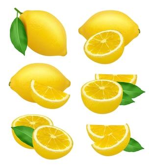 Tranches de fruits agrumes produits naturels jaune citron vert alimentaire naturel.
