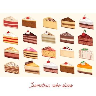 Tranches de gâteau isométrique