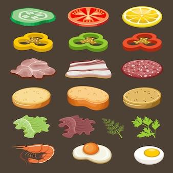 Tranches de nourriture pour sandwichs. casse-croûte.