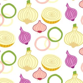 Tranches d'oignon de modèle sans couture. papier numérique vecteur légumes dessinés à la main