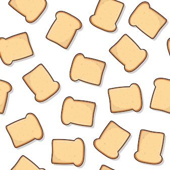 Tranches de pain grillé modèle sans couture sur un fond blanc. boulangerie pâtisserie produit icône illustration vectorielle