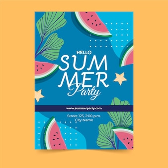 Tranches de pastèque affiche de fête d'été dessinés à la main