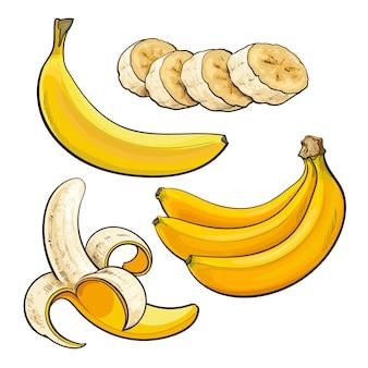 Tranches et pelées de bananes mûres