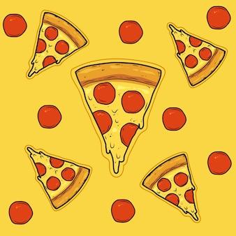 Tranches de pizza au pepperoni avec illustration vectorielle de saucisse tomate et fromage
